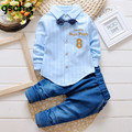 Meninos da criança Roupas Tarja Arco Completo Cavalheiro Roupa Dos Miúdos Da Camisa + Calça Jeans Infantil Treino Equipamento Do Natal Do Bebê vetement garcon