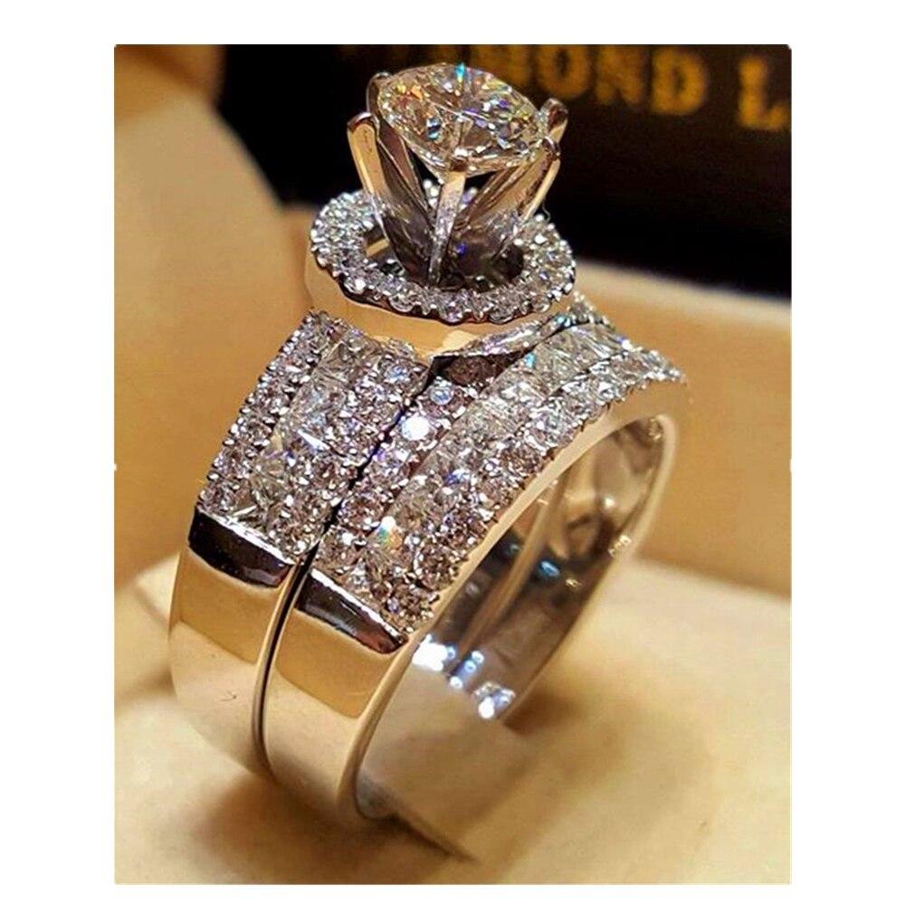 Роскошное Кристальное женское большое кольцо королевы, модное серебряное кольцо для невесты, обручальное кольцо для женщин, обещающее любо...