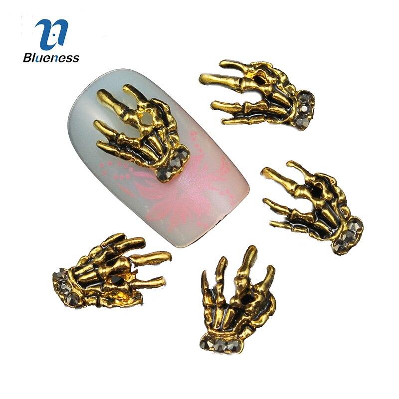 Blueness 10 Pcs Glitter Gold And Black Hand 3D Nail Art Rhinestones,Decorations Used Gel Polish DIY Alloy Charm Nails ToolsTN511