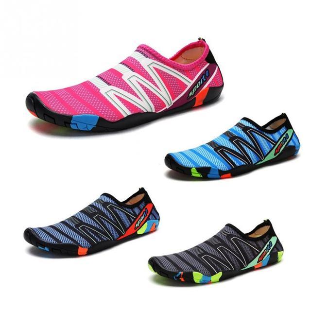 Zapatillas de agua Unisex al aire libre pareja verano playa Aqua Wading Shoes natación pesca buceo piel pasta suave zapatos