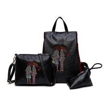 2017 Стиль 3 комплекта модные женские туфли рюкзак Водонепроницаемый Оксфорд женский Packbag черный Вышивка школьный рюкзак для девочки-подростка