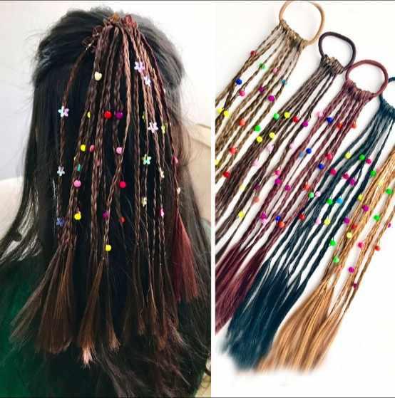 Feito à mão ornamentos coloridos peruca hairline senhora trança africano plait acessórios de cabelo decorativos
