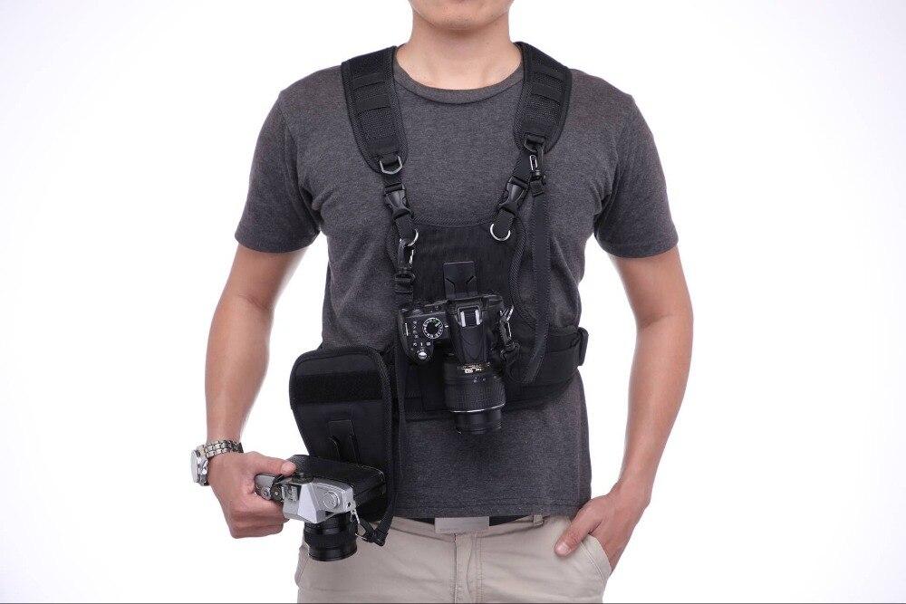 Transportadora Sistema II Multi Dual Câmera Carregando 2 Chest Harness Colete Cinta Rápida com o Lado Coldre para Canon Nikon Sony pentax DSLR