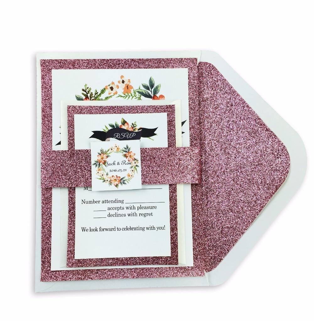 30pcs / lot glitter liner envelope cu invitație florală și set - Produse pentru sărbători și petreceri