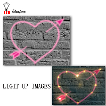 Lighted led canvas print fall in love nice heart sharp painting wall picture art home decor gift hot sale dropship