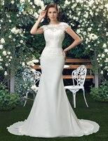 Charming Scoop Lace Wedding Dresses 2015 Trumpet Ivory Tulle Floral Wedding Dress Vestido De Noiva 11296344