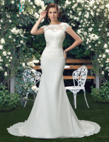 Charming Scoop Lace Wedding Dresses 2015 Trumpet Ivory Tulle Floral Wedding Dress Vestido De Noiva 11296344
