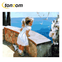 RIHE Girl Watches Sea Drawing By Numbers DIY Cat Painting Handwork On Canvas Oil Wall Art Coloring Home Decor 2018