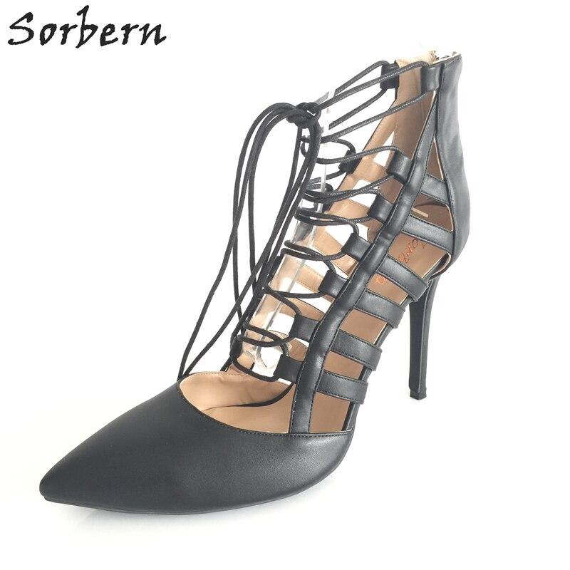 Pompes Sorbern Talons Gladiateur Printemps Stilettos Noir Chaussures Lacent Femmes Haute Style Bout 35 Grande Taille multi Pointu YUpxYqr
