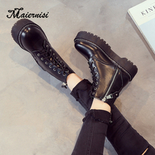 MAIERNISI Ankle Boots Winter Pu Leather Women Work Shoes Round Toe Lace-Up Ladies Black Female