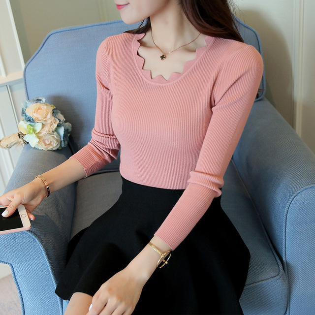 Sawtooth Collar Knitted Sweater Women 2016 Autumn Winter Long Sleeve Jumper Pullovers Female Black Gray Pink Red Blue Pull Femme
