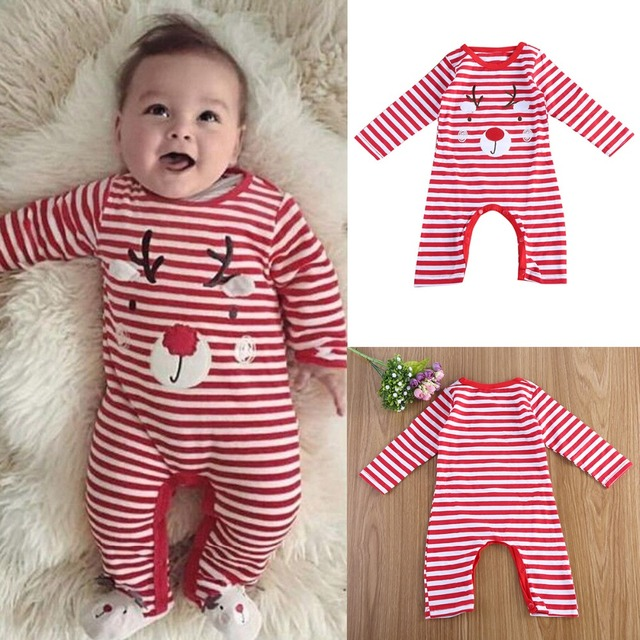 d7bca98653c Puseky Christmas Striped Red White Baby Unisex Clothes Outfit Cotton Elk  Print Xmas Romper Jumpsuit Long
