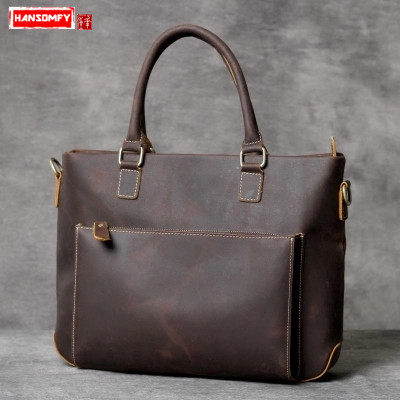 Vintage Men briefcase crazy horse leather business handbag handmade original male laptop bag shoulder Messenger bag new men vintage crazy horse genuine leather handbag business messenger bag shoulder handbags bag