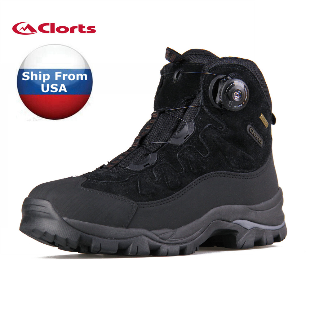 (Shipped From USA Warehouse)2018 Clorts Men Hiking Boots BOA Fast Lacing Waterproof Outdoor Shoes For Men 3A008A/C 2017 clorts men running shoes boa fast lacing lightweight outdoor sport shoes breathable mesh upper for men free shipping 3f013b