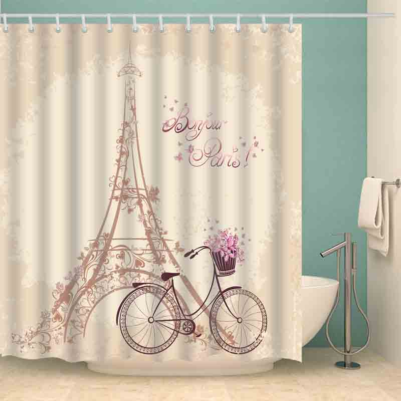 luxury smart shower curtains retro iron tower bicycle