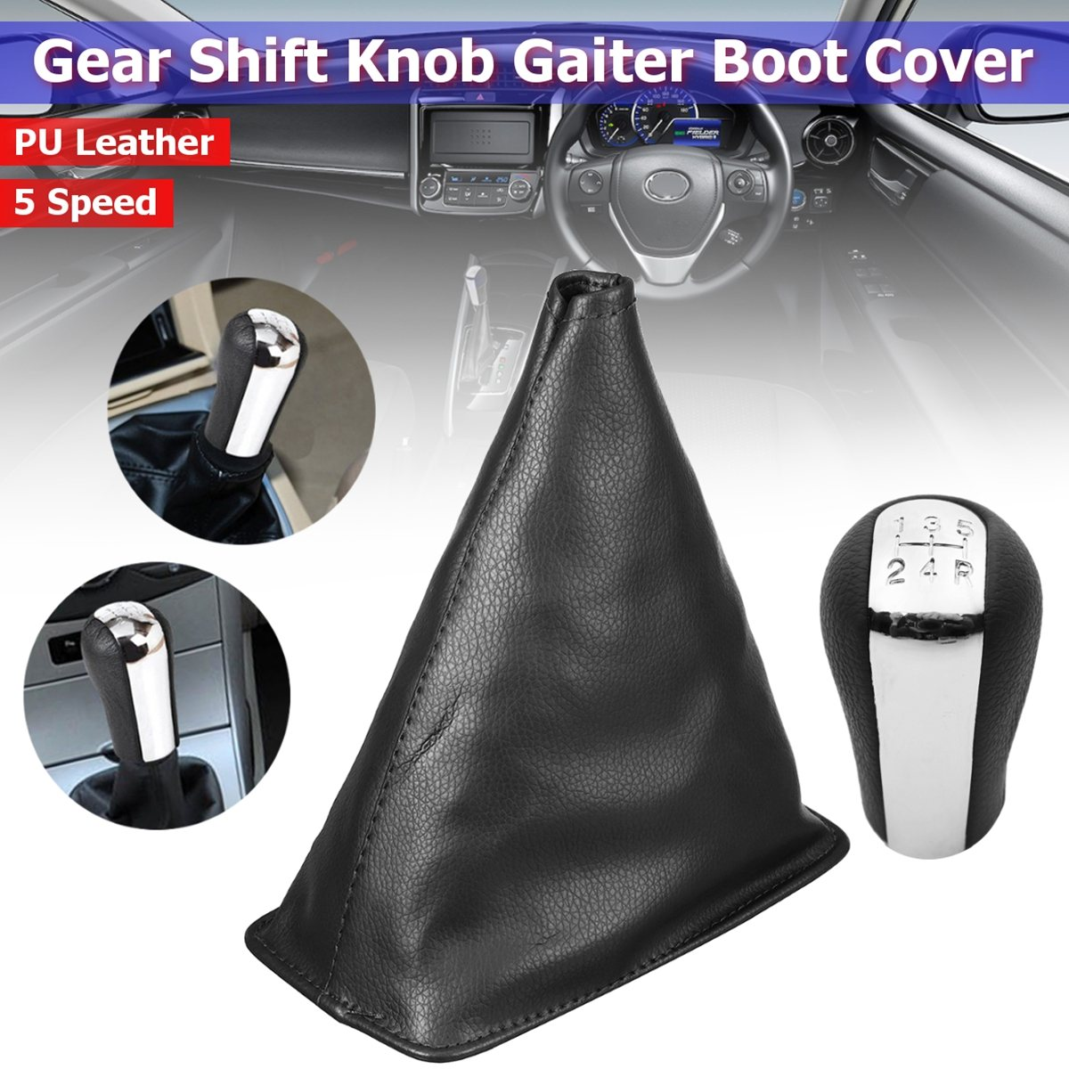 5 Speed Gear Knob Shift PU Leather Gaiter Boot Cover For Toyota Corolla 1998 1999 2000 2001 2002 2003 2004 2005 2006 2007 2008