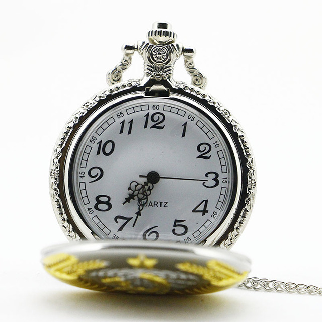 4 Colors Vintage Bronze New Soviet Sickle Hammer Style Quartz Pocket Watch Men Women Pendant
