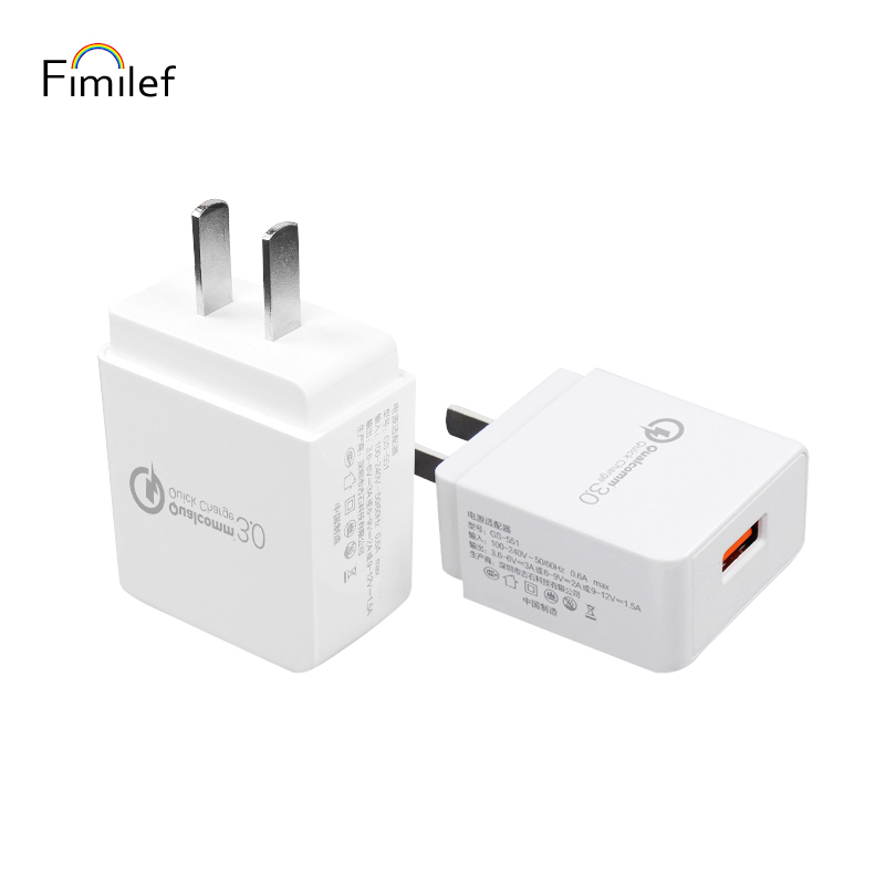 Universal Quick Charge 3.0 Fimilef 18W USB Wall Charger Adapter with Smart IC for Samsung Galaxy S7 S6 For Mobile Phone Tablet