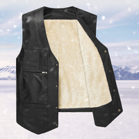 2017 Winter Super Warm PU Leather Mens Vests Casual Winter Men Pockets Vest Button Black Fashion