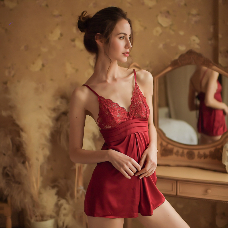 Sexy Women   Nightgowns   V-Neck   Sleepshirts   Underwear Adult Lace Sling Nightdress Sexy Nightwear Silk Lingerie Night Dress Women