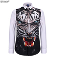 Newsosoo brand new style 3D Tiger printing casual shirts men new 2016 high quality mens long sleeve fit slim shirt  DS9