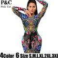 XXXL Tallas grandes Mujeres Sexy Tattoo Tribal Print Mesh Vestido Ajustado Mujeres Multi Color Mesh Tribal Geométrico vestidos de Club Con Curvas