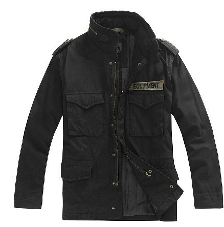 ФОТО military tactical jacket for men M65 jacket badges collar and long sections warm cotton padded black