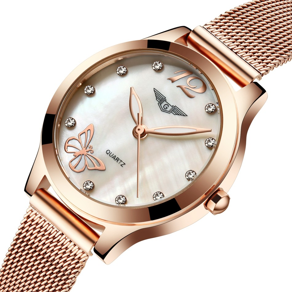 ФОТО Relogio Feminino Women Dress Top Brand GUANQIN Women's Fashion Stainless Steel Bracelet Quartz Watch Ladies Watches Gold Watch