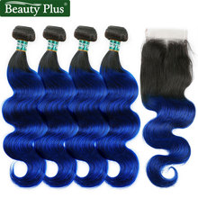 Dark Roots Blue Ombre Human Hair Bundles With Closures Beauty Plus Nonremy Brazilian Body Wave Hair 4 Bundles With Lace Closures