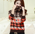 2016 New fashion high-necked sweater woman hit color geometric pattern cashmere sweater plus size S-XXXL Christmas Gifts
