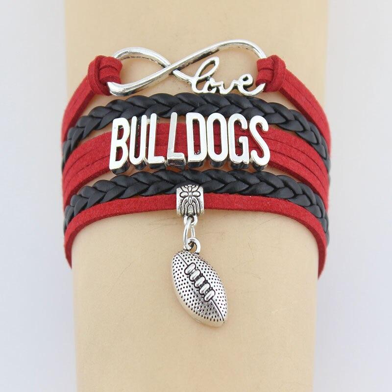 Ausdrucksvoll Unendlichkeit Liebe Bulldogs Football Armbänder Charme Handgemachte Geflochtenes Leder Weben Armreifen Für Frauen Männer Schmuck Gewohnheit Irgendeine Themen