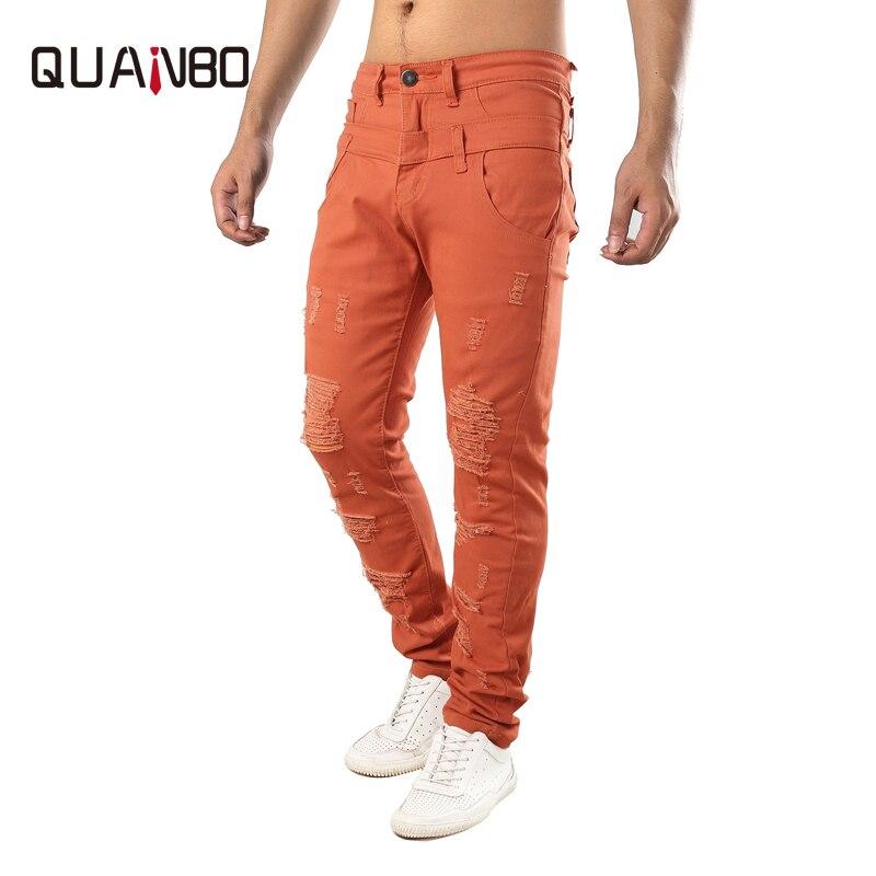 QUANBO Brand Clothing Men's Slim Hole Ripped   Jeans   Normcore/Minimalist Denim Pants Men Denim Pants Elastic   Jeans   Orange