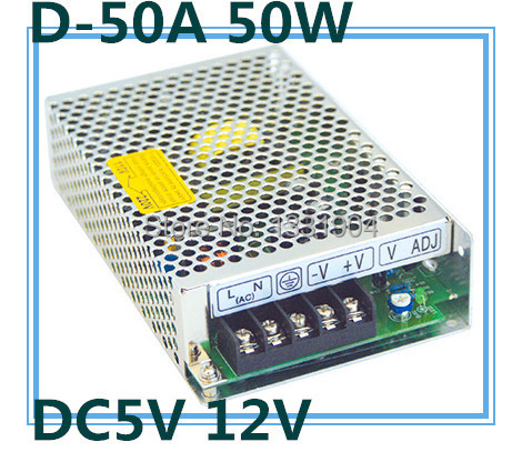 LED dual output switching power supply D-50A, 50W AC input, output voltage DC 5V 12V transformer ms 50 24 24v 2 1a switching power supply 85 264v ac input 5v dc output 50w led driver
