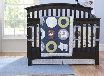 7PCS embroidery baby crib bedding set bedspread newborn cot linen kit de berço (4bumper+duvet+bed cover+bed skirt)