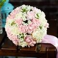 2015Cheap Hot Sale Artificial Bride Hand Holding Pink/Ivory/Purple Rose Flower Wedding Bridal/Bridesmaid Bouquet buque de noiva