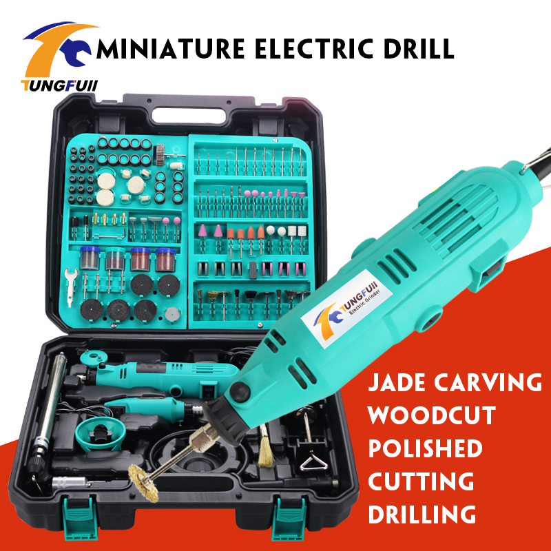 Tungfull Electric Drills Mini Drill Woodworking Drilling Machine Mini Polishing Machines 30000rpm Variable Speed Rotary Tools