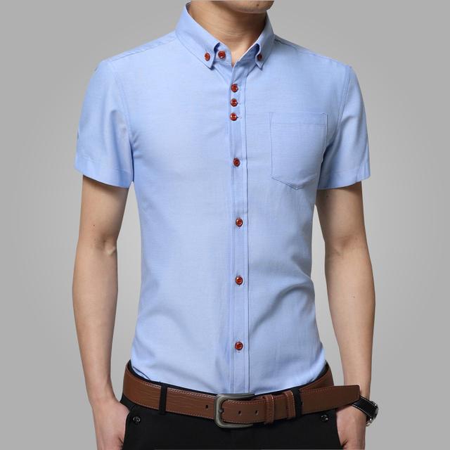Novo 2016 moda verão camisa de manga curta homem Homens vestido de lazer pure color lapela slim fit camisa dos homens camisas de Vestido tamanho grande 5XL