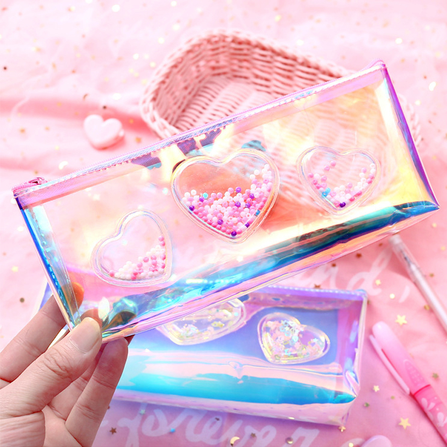 Simple Oil infused Transparent Laser Quicksand New PU Creative Pencil Case School Supplies Stationery Pouch Makeup Storage Bag in Cosmetic Bags Cases from Luggage Bags