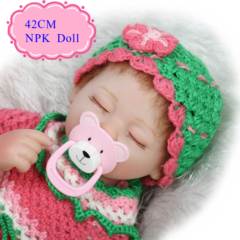 ФОТО New Arrival 42cm 17inch Reborn-Baby-Doll With Colourful Handmade Sweater Sleeping Bonecas Bebes Reborn Menina For Kids As Toys
