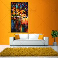 high quality Hand Painted Modern Palette Knife Canvas Oil Painting Paris night scene Picture Wall Art For Living Room Home Decor