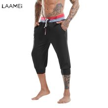 Laamei Male Trousers Men Pants Solid Calf Length Sweatpants Jogger Men s Casual Pants Drawstring Joggers