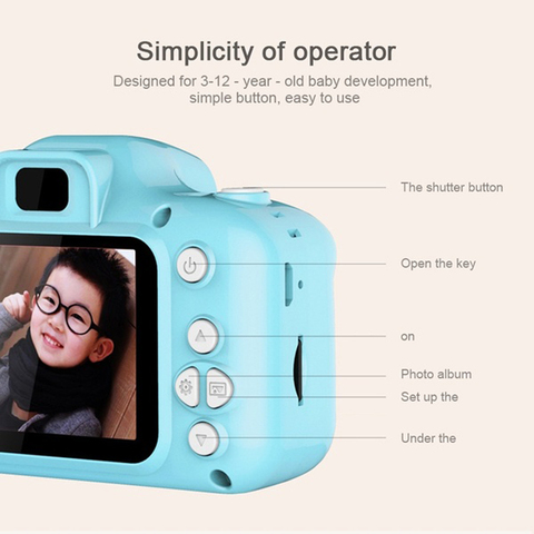 Photography DC500 Full Color Mini Camera for Children Kids Cute Camcorder Video Child Cam Recorder Digital Camcorders Blue/Pink Islamabad