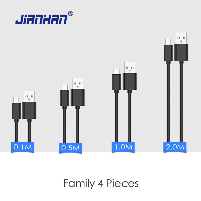 4 Pieces JianHan Micro USB Cable 0.1M/0.5M/1M/2M Fast Charging Data Cables for Samsung Galaxy S7 LG V10 Xiaomi Huawei Mate 8