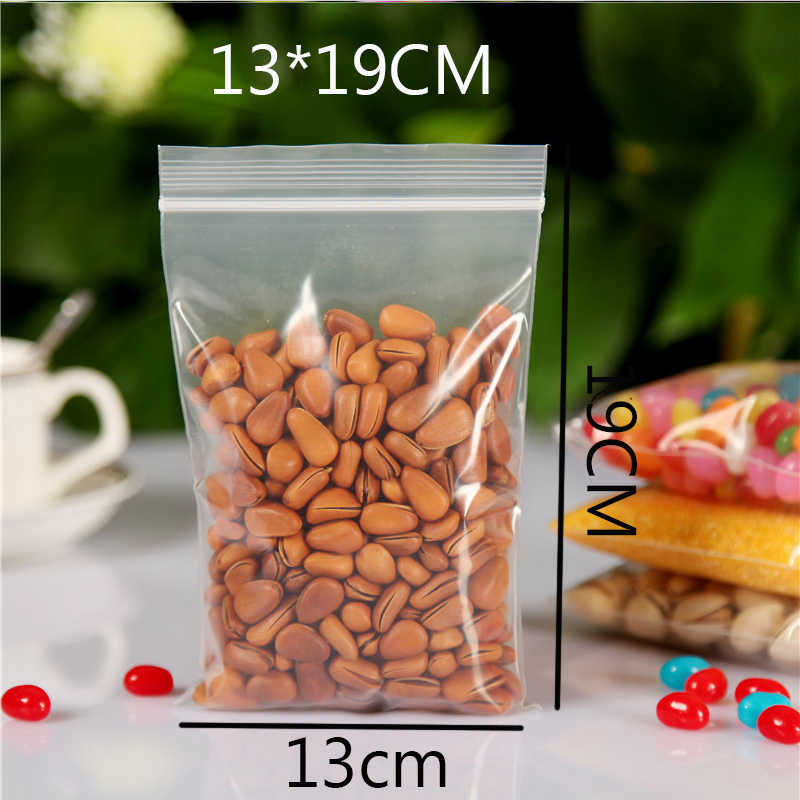 Wholesale Zip Lock Plastic Bag 13x19cm Large Storage Bag 100pcs/lot Thick Transparent Food Packaging Pouches Gift Bag For Guests