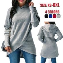 Women Hoodies Sweatshirt Kpop Solid Long