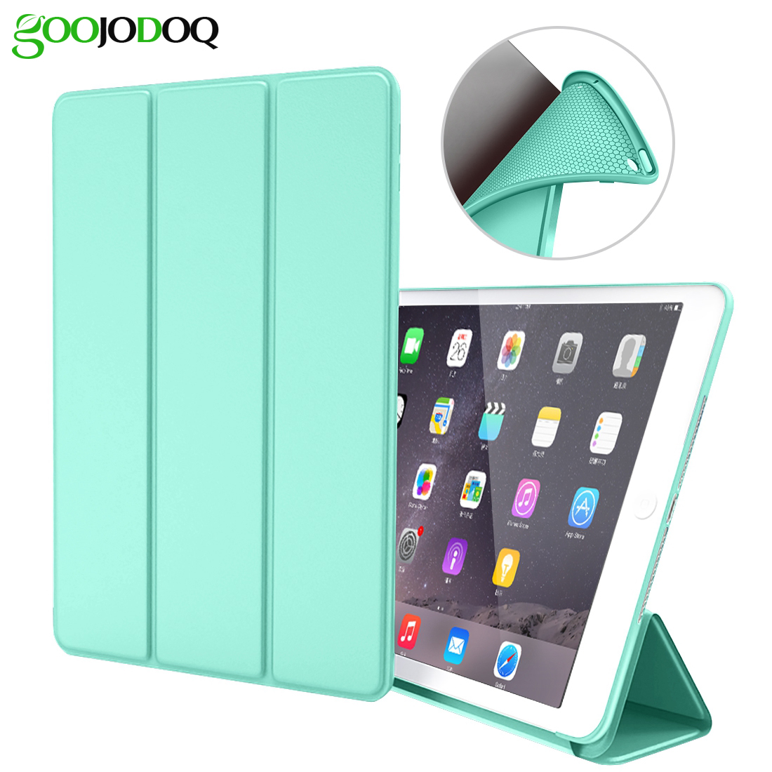 For iPad Pro 9.7 Case Silicone TPU Soft GOOJODOQ Smart Cover for Apple iPad Pro 9.7 inch Case PU Leather 2016 A1673/A1674/A1675 surehin nice tpu silicone soft edge cover for apple ipad air 2 case leather sleeve transparent kids thin smart cover case skin