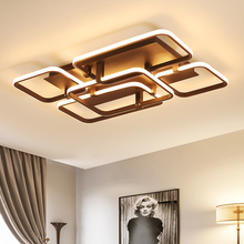 White/Brown square rings modern Led chandeliers lighting