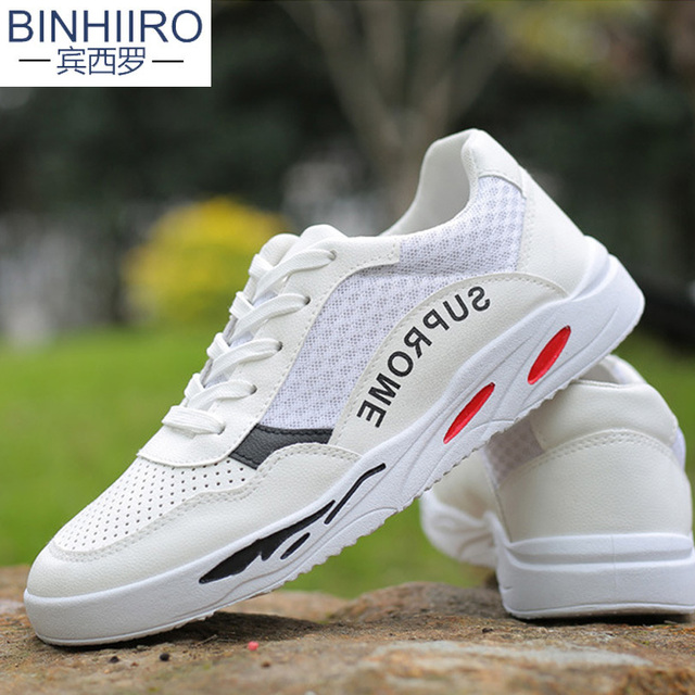 Up Casual Zapatillas Hombres Transpirable Malla Blancos Binhiiro Vintage De 2018 Zapatos Moda Patchwork Primavera Cómodos Encaje wNn0m8
