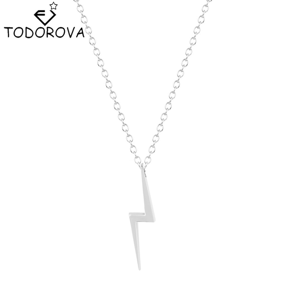 Todorova 10pcs Women Men Jewelry Chain Simple Lightning Bolt Choker Necklace for Women Silver Gold Maxi Collier