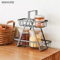 gift shelf organizer fruit storage basket Nordic Iron art Kitchen desktop 2 layer storage basket Finishing rack Metal shelf